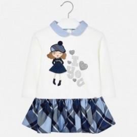 Dívčí bavlněné šaty s kostkovanou sukní Mayoral 4939-42 granát