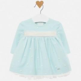 Tylové šaty s výšivkou pro dívku Mayoral 2820-88 modrý