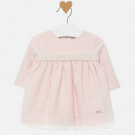 Tylové šaty s výšivkou pro dívku Mayoral 2820-89 růžový
