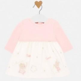 Bavlněné šaty s tylem holčičí Mayoral 2831-95 růžový