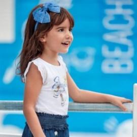 Bavlněné tričko pro dívku Mayoral 3024-59 bílá