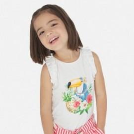 Bavlněné tričko pro dívku Mayoral 3025-18 bílá