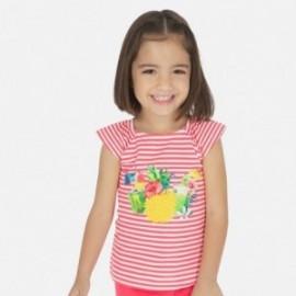 Pruhované tričko pro dívku Mayoral 3028-24 červené
