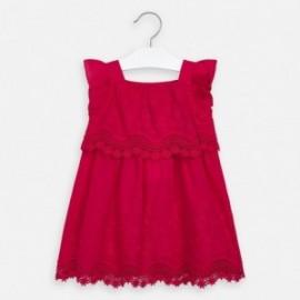 Popelínové šaty s výšivkou Mayoral girl 3952-49 červená