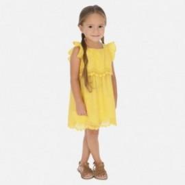 Mayoral 3952-46 Žluté šaty nahoře s výšivkou