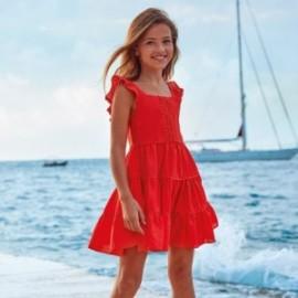 Mayoral 6973-32 bavlněné šaty pro dívky červené