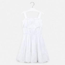 Popelínové šaty pro dívky Mayoral 6982-80 bílá
