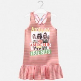Pruhované šaty holčičí Mayoral 6987-93 oranžový