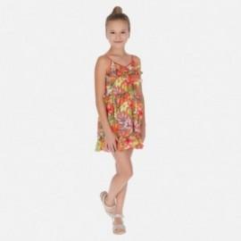 Květinové šaty holčičí Mayoral 6988-19 oranžový