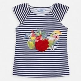 Tričko s pruhy pro dívku Mayoral 3028-25 granát