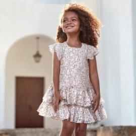 Dívčí leopardí šaty Mayoral 3957-45 béžový