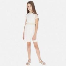 Tylové šaty s výšivkou pro dívky Mayoral 6972-3 krém