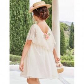 Tylové šaty s volánkem pro dívky Abel & Lula 5018-3 krém