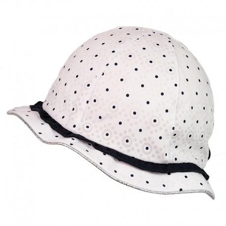 BARBARA Bavlněná čepice pro dívky Jamiks JLC060 barva bílá / tmavě modrá
