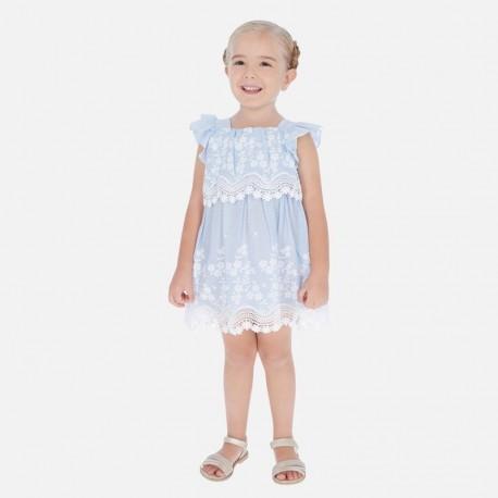 Popelínové šaty s výšivkou Mayoral girl 3952-47 modrá