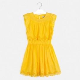 Šaty s výšivkou pro dívku Mayoral 6977-44 Žlutá