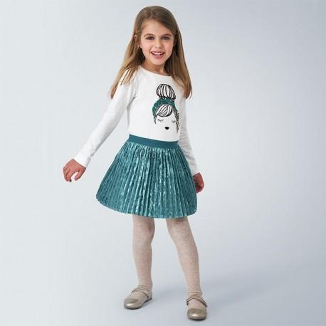 Mayoral 4955-64 zelená skládaná dívčí sametová sukně