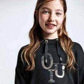 Dívčí svetr s kapucí Mayoral 7330-76 šedý