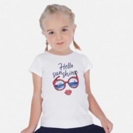Tričko s potiskem pro dívku Mayoral 3017-37 Bílý/granát