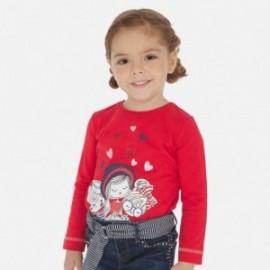 Tričko s potiskem pro dívky Mayoral 3019-56 Červené