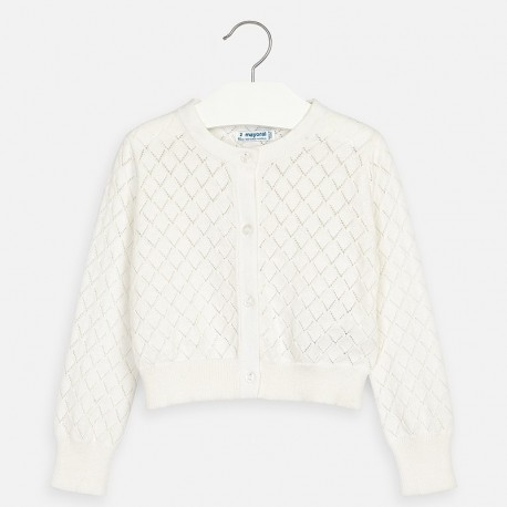 Pletený svetr pro dívku Mayoral 3321-84 Bílý