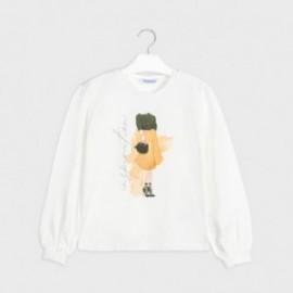 Tričko s dlouhým rukávem pro dívky Mayoral 7062-30 krémová / žlutá