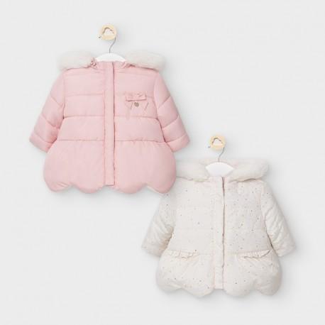 Oboustranná bunda pro dívky Mayoral 2460-19 růžová / krémová