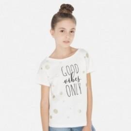 Tričko pro dívky s krátkým rukávem Mayoral 6008-56 krém