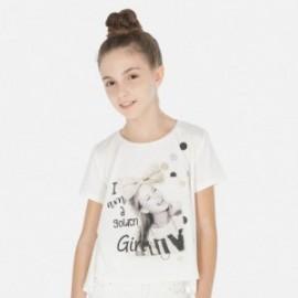 Tričko pro dívky s krátkým rukávem Mayoral 6009-47 krém