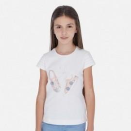 Tričko pro dívky s krátkým rukávem Mayoral 6016-47 Krémová